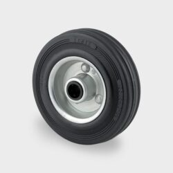 black rubber tyred trolley wheels