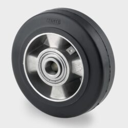 Black rubber tyre on aluminium centre
