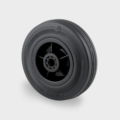 black rubber tyred trolley wheels