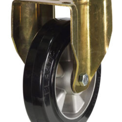 Medium duty top plate fixed castor rubber tyre aluminium centre