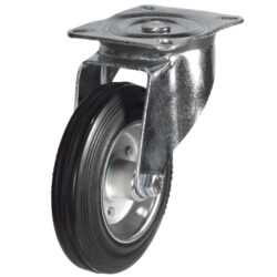 top plate swivel castor with rubber tyre steel centre