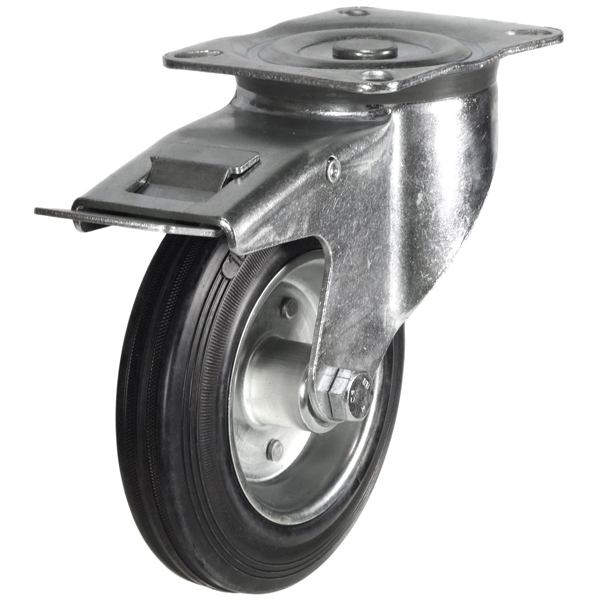 top plate swivel brake castor with rubber tyre steel centre