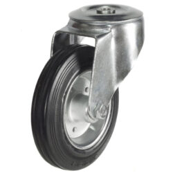 bolthole castor with rubber tyre wheel steel centre