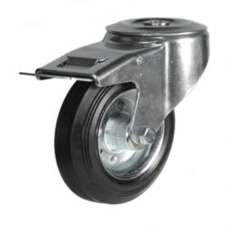 bolthole braked castor with rubber tyre wheel steel centre