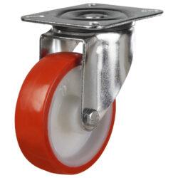 stainless steel top plate swivel castor polyurethane tyre nylon centre