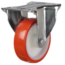 stainless steel top plate fixed castor with polyurethane tyre nylon centre