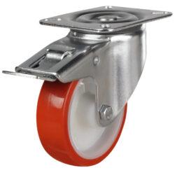 stainless steel top plate swivel brake castor with polyurethane tyre nylon centre