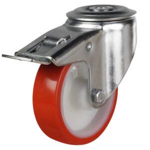 bolthole braked castor with polyurethane wheel