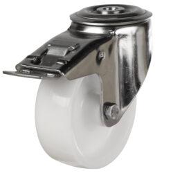 stainless steel bolt hole brake castor nylon wheel