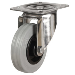 stainless steel top plate swivel castor with grey rubber tyre