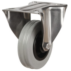 stainless steel top plate fixed castor grey rubber wheel