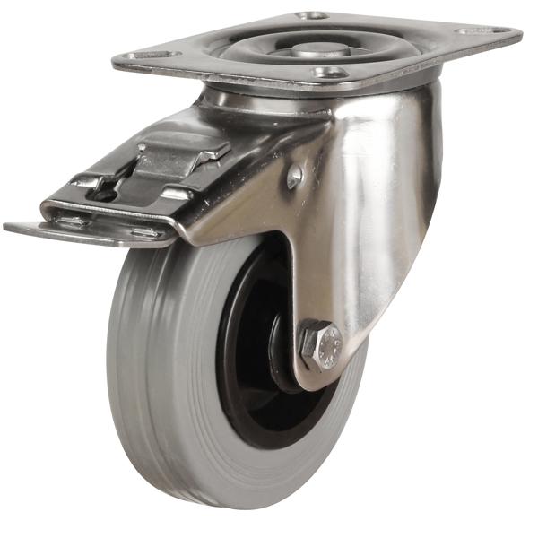 stainless steel top plate swivel brake castor grey rubber wheel