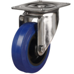 top plate swivel castor with blue elastic rubber wheel