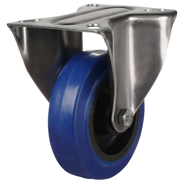 top plate fixed castor with blue rubber wheel