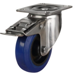 stainless steel top plate swivel brake castor blue rubber wheel