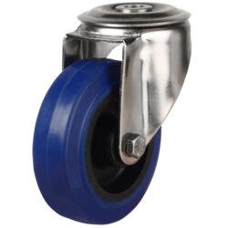 stainless steel bolt hole castor blue rubber wheel
