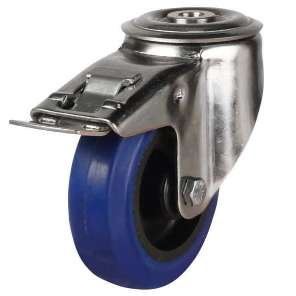 stainless steel bolt hole brake castor blue rubber wheel
