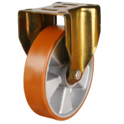 Medium duty top plate fixed castor polyurethane tyre aluminium centre