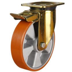 Medium duty top plate swivel brake castor polyurethane tyre aluminium centre