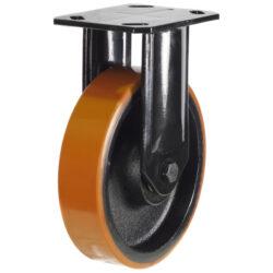 Heavy Duty Fixed Castor Polyurethane Tyre Cast Iron Centre Wheel