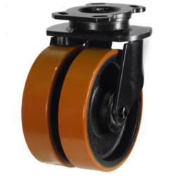 Heavy Duty Swivel Twin Wheel Castor Polyurethane Tyre Cast Iron Centre Wheel