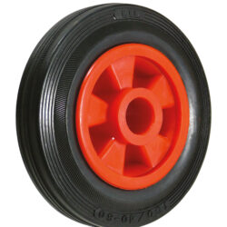 Rubber tyred red trolley wheels