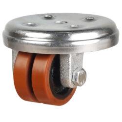 Low level castor polyurethane wheel round top plate