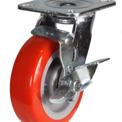 top plate swivel castor fabricated bracket with wheel brake polyurethane wheel