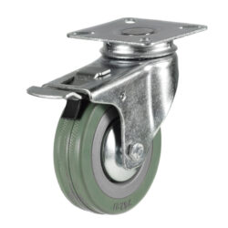 economy top plate swivel brake castor grey tyre wheel