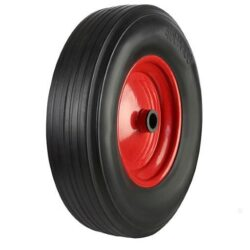 Solid rubber tyre red steel centre