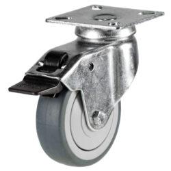 Light duty swivel castor brake with grey wheel