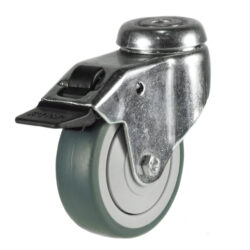 institutional bolt hole brake castor grey rubber tyre