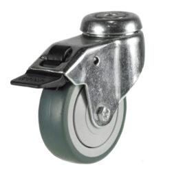 institutional bolt hole brake castor grey rubber tyre