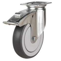institutional top plate brake castor grey rubber tyre