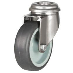 stainless steel bolt hole castor grey rubber wheel