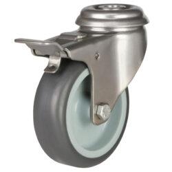 stainless steel bolt hole brake castor grey rubber wheel