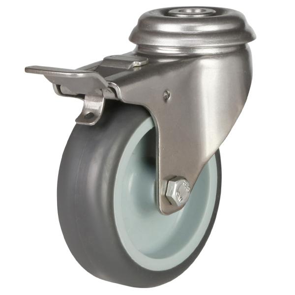Stainless Steel Institutional Bolthole Brake Castor Tpr Wheel