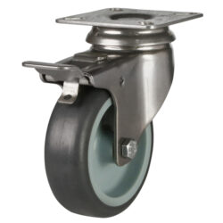 stainless steel top plate swivel brake castor grey wheel