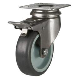 stainless steel top plate swivel brake castor grey wheel