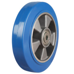 blue elastic rubber wheel with aluminium centre