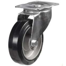 top plate swivel castor with rubber tyre aluminium centre