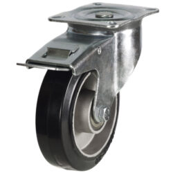 top plate swivel brake castor with rubber tyre aluminium centre