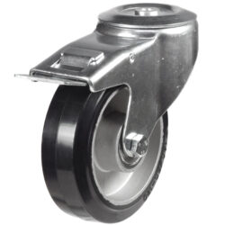 bolthole braked castor with rubber tyre aluminium centre