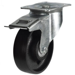 top plate swivel brake castor with cast iron wheel