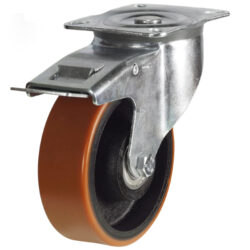 top plate swivel brake castor with polyurethane tyre cast iron centre