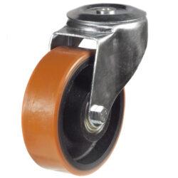 bolthole castor with polyurethane tyre cast iron centre
