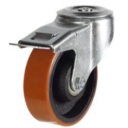 bolthole braked castor with polyurethane tyre cast iron centre