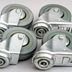 50mm single bolt pack grey wheel 2 x swivel and 2 x swivel brake