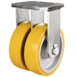Extra Heavy Duty Twin Wheel Fixed Castor Polyurethane Wheel