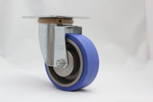 Blue high temperature rubber wheel with ball bearing